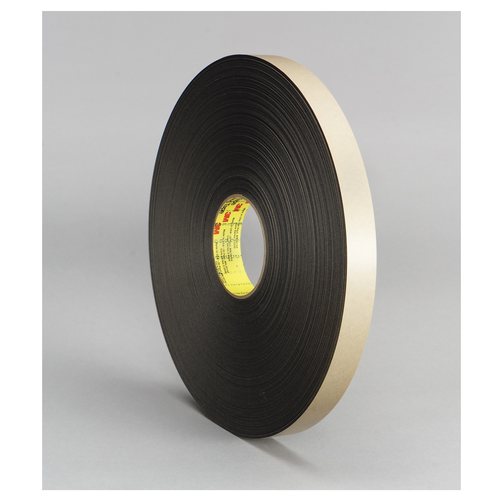 3M™ 021200-30422 Double Coated Tape, 72 yd L x 1/2 in W, 31 mil THK, Acrylic Adhesive, Polyethylene Foam Backing, Black