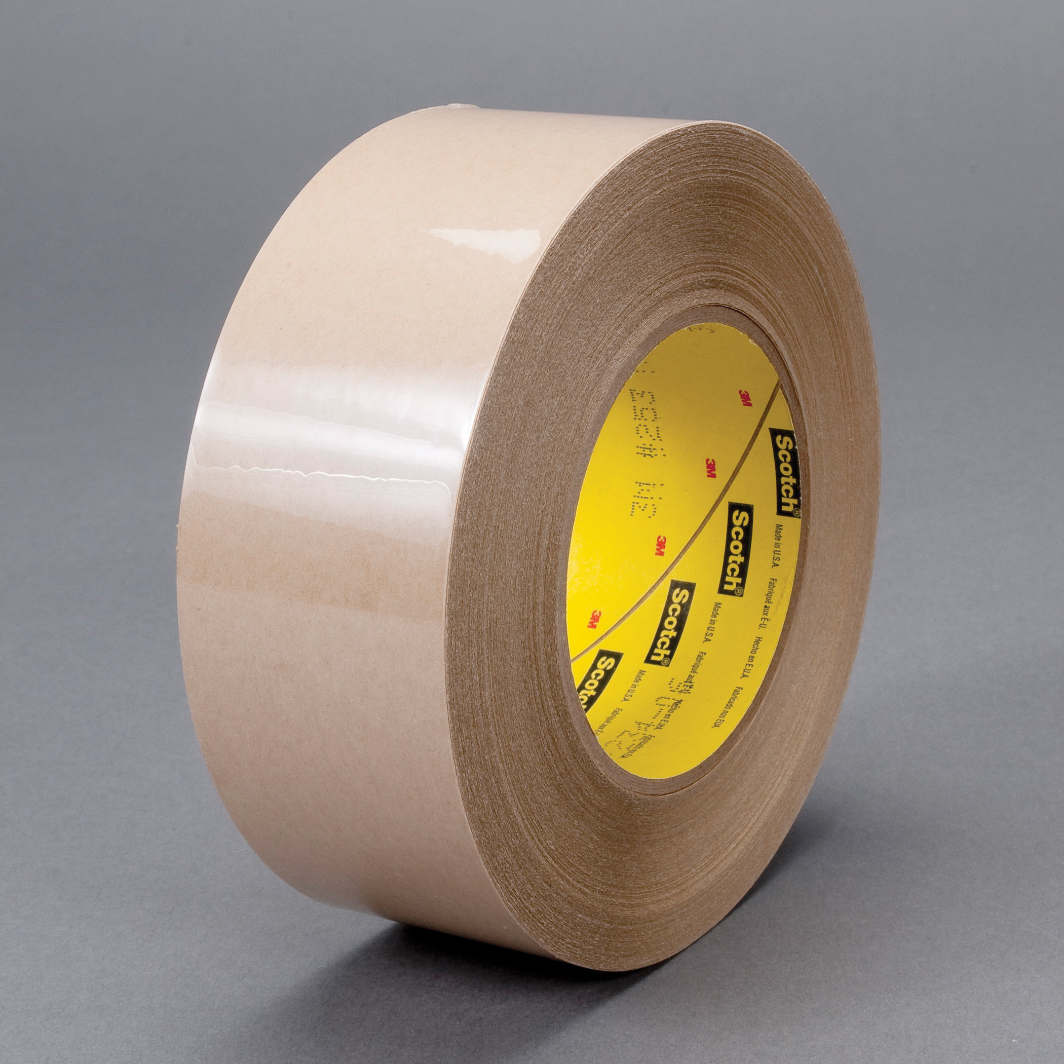 3M™ 021200-83874 Single Coated Splicing Tape, 60 yd L x 1 in W, 4.6 mil THK, Silicon Adhesive, Treated Flatstock Paper Backing, Tan