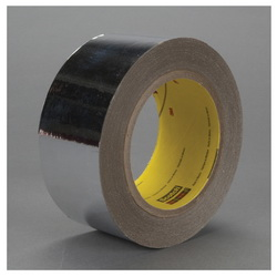 3M™ 021200-39641 8437 Double Sided Metalized Tape, 72 yd L x 1 in W, 2 mil THK, Acrylic Adhesive, 0.9 mil Polyester Backing, Silver