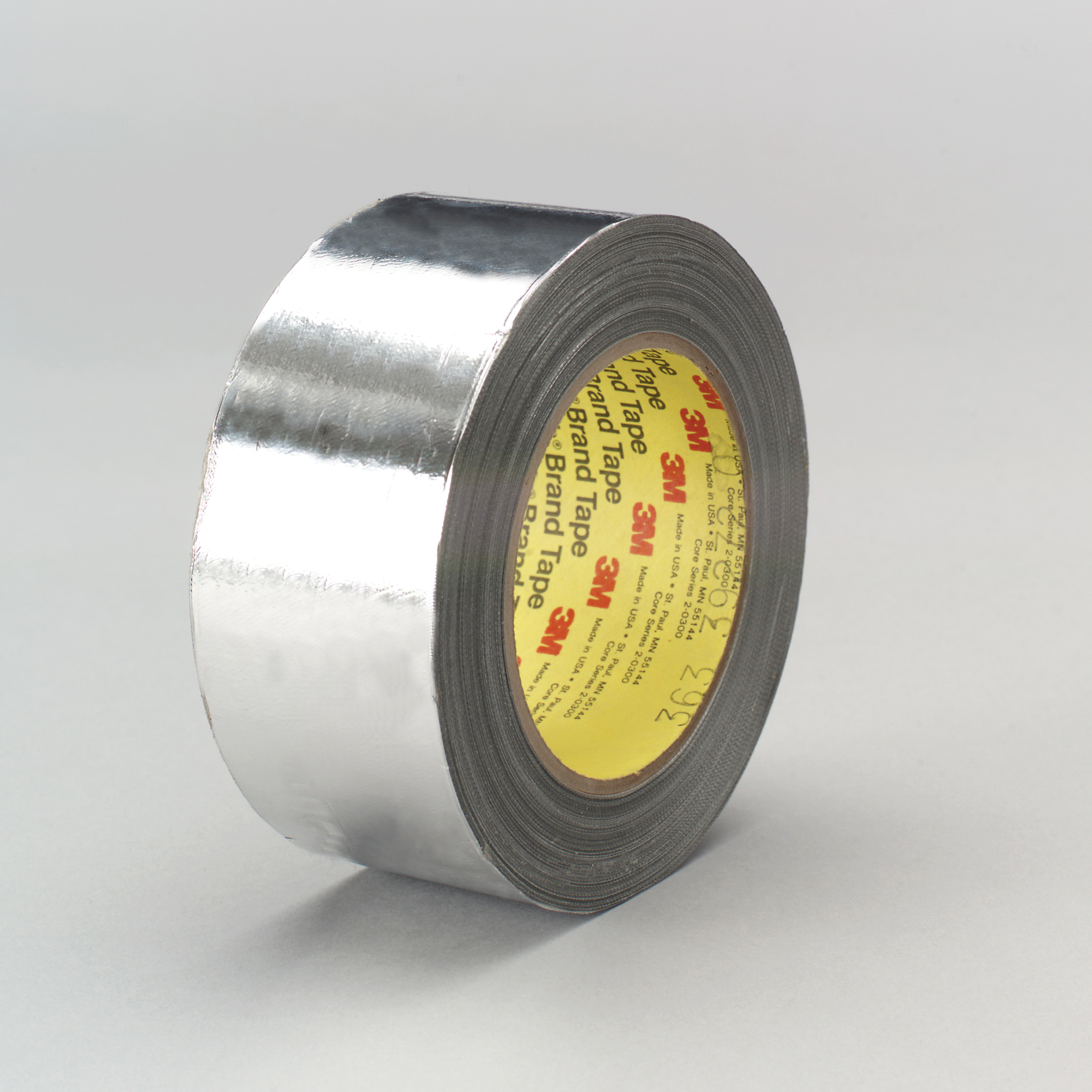 3M™ 021200-17294 High Temperature Cloth Tape, 36 yd L x 1 in W, 7.3 mil THK, Silicone Adhesive, Aluminum Foil Laminated to Glass Cloth Backing, Shiny Silver
