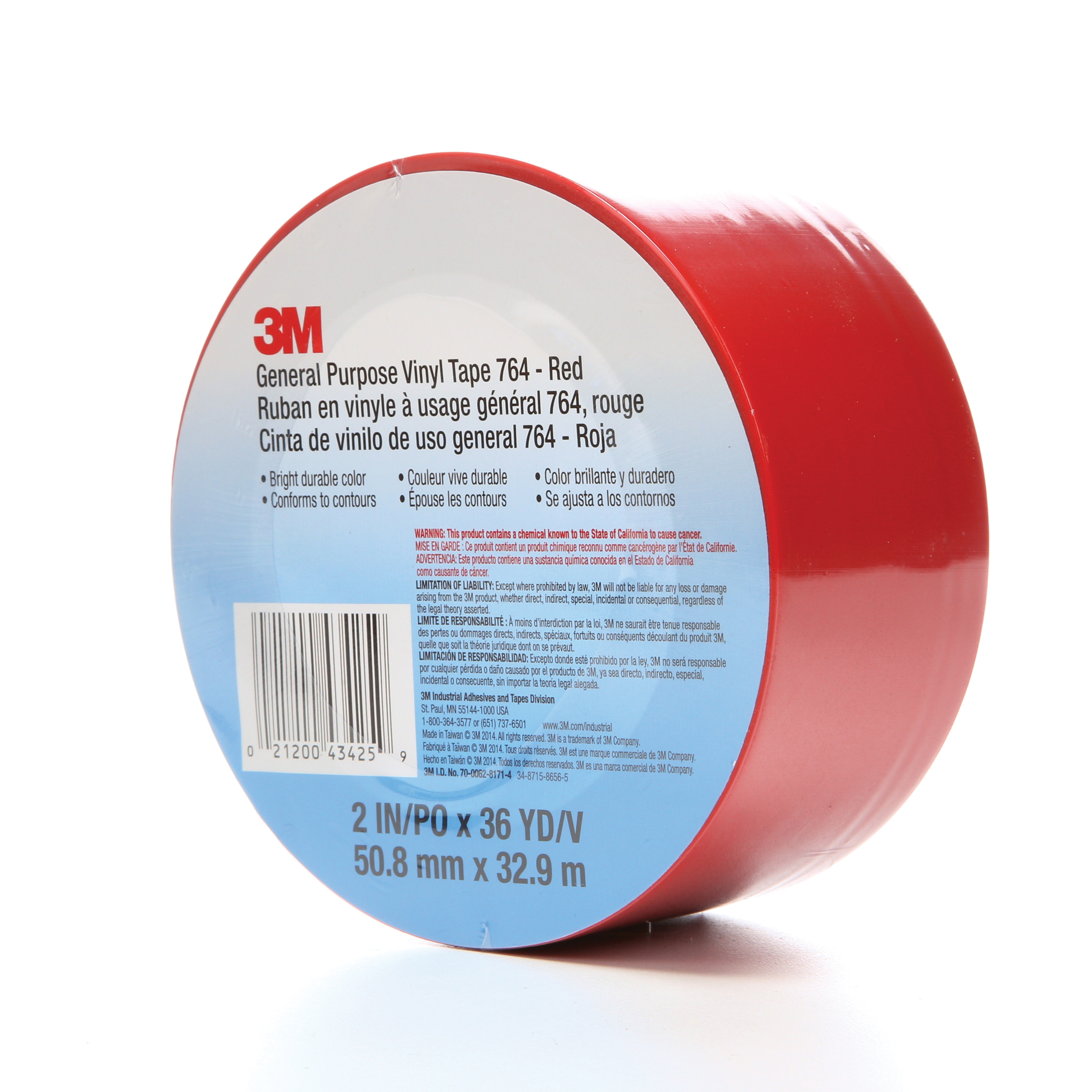 3M™ 021200-43425 General Purpose Vinyl Tape, 36 yd L x 2 in W, 5 mil THK, Rubber Adhesive, Polyvinyl Chloride Backing, Red