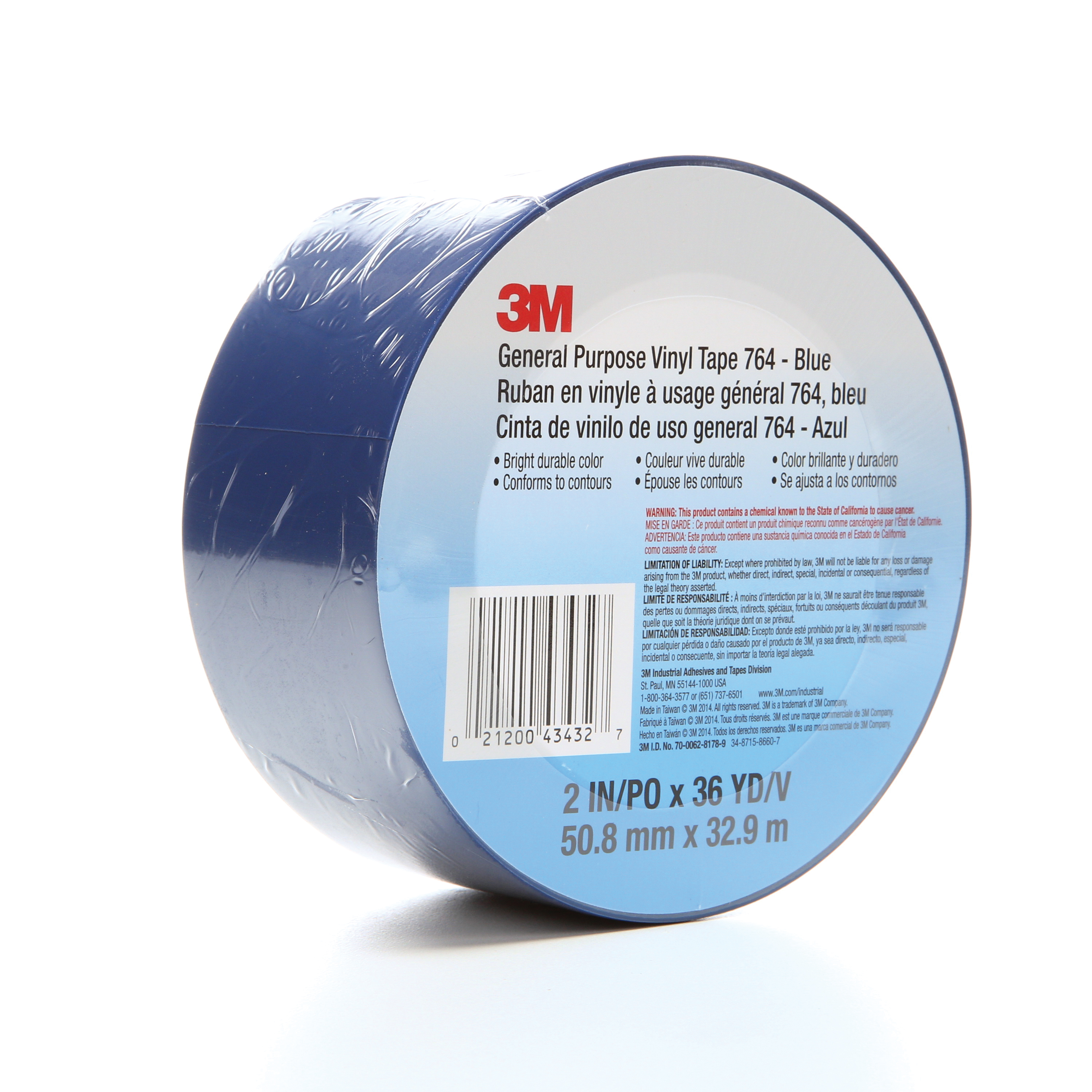 3M™ 021200-43432 General Purpose Vinyl Tape, 36 yd L x 2 in W, 5 mil THK, Rubber Adhesive, Polyvinyl Chloride Backing, Blue