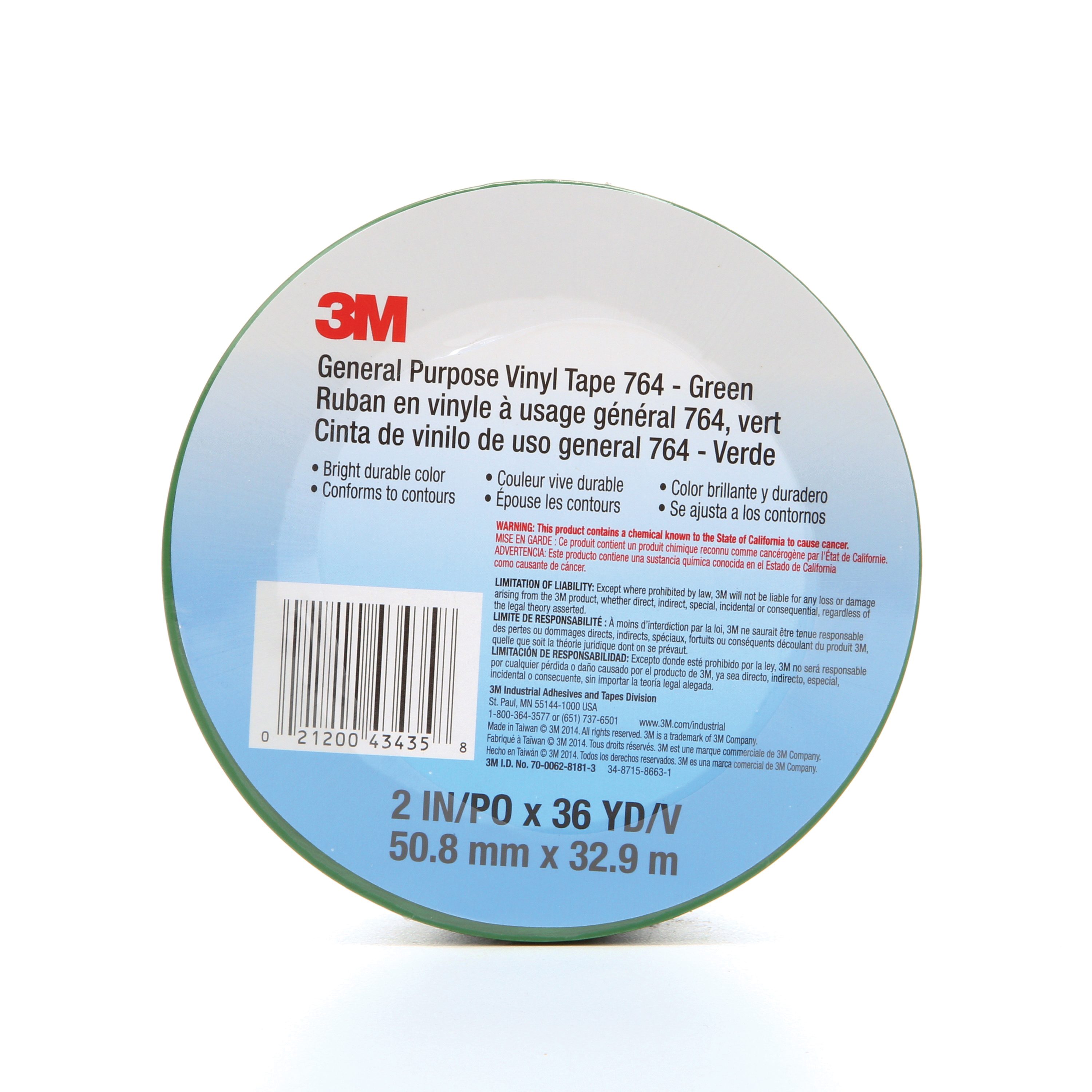 3M™ 021200-43435 General Purpose Vinyl Tape, 36 yd L x 2 in W, 5 mil THK, Rubber Adhesive, Polyvinyl Chloride Backing, Green