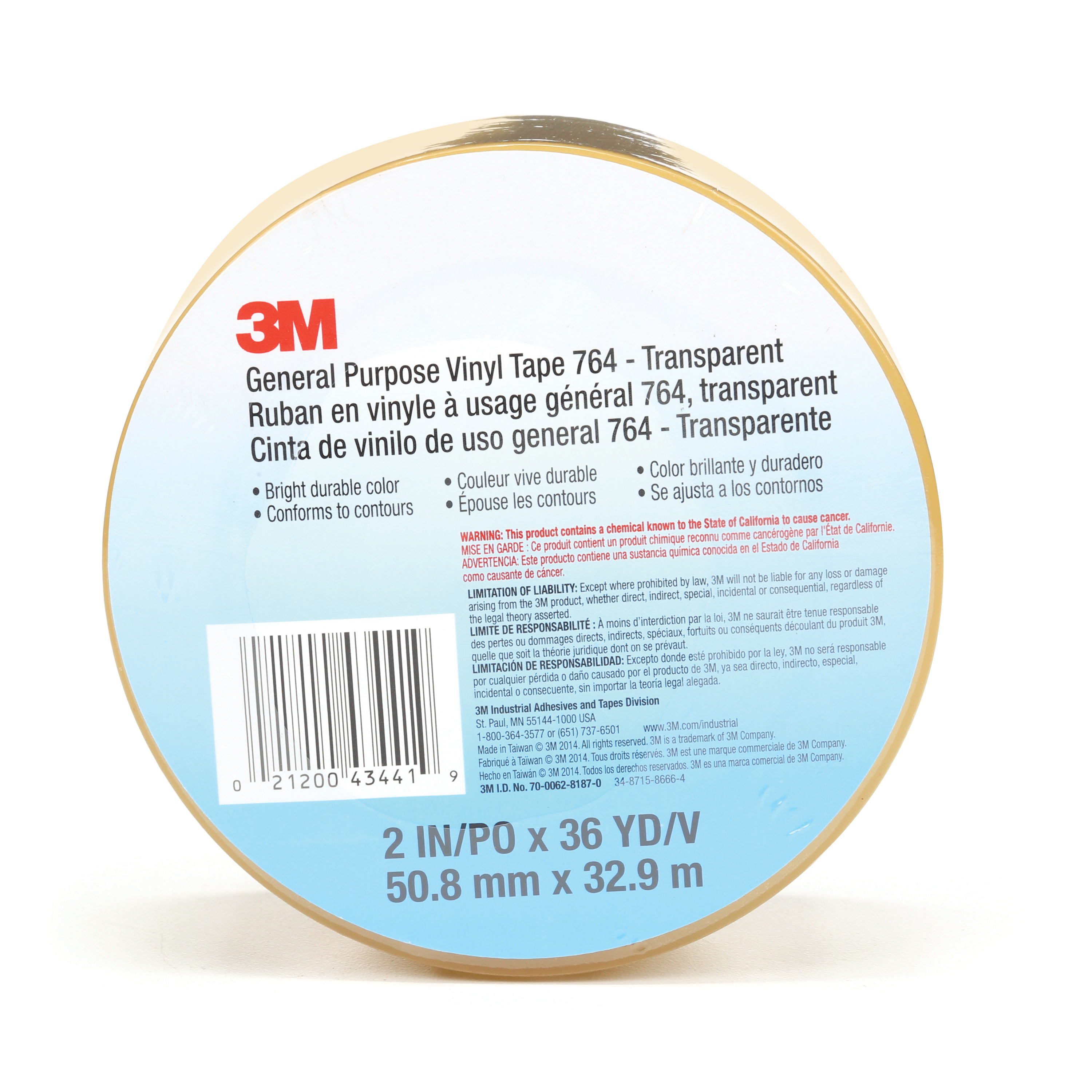 3M™ 021200-43441 General Purpose Vinyl Tape, 36 yd L x 2 in W, 5 mil THK, Rubber Adhesive, PVC Backing, Transparent