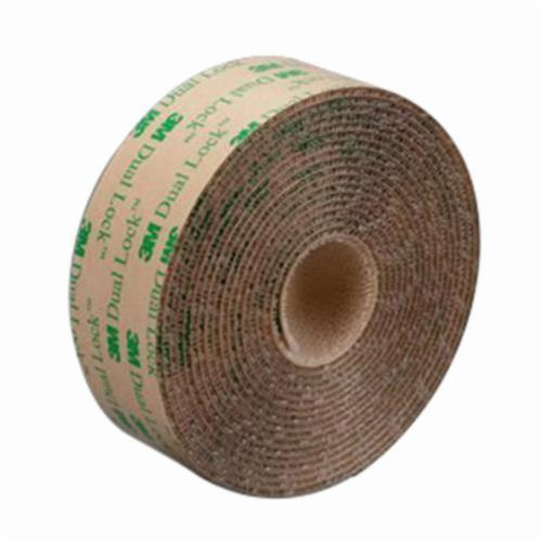 3M™ Dual Lock™ 021200-44883 Low Profile Mushroom Shaped Reclosable Hook and Loop Fastener Tape, 50 yd L x 1 in W, 0.098 in THK Engaged, Low Surface Energy Acrylic Adhesive, Polypropylene Backing, Clear