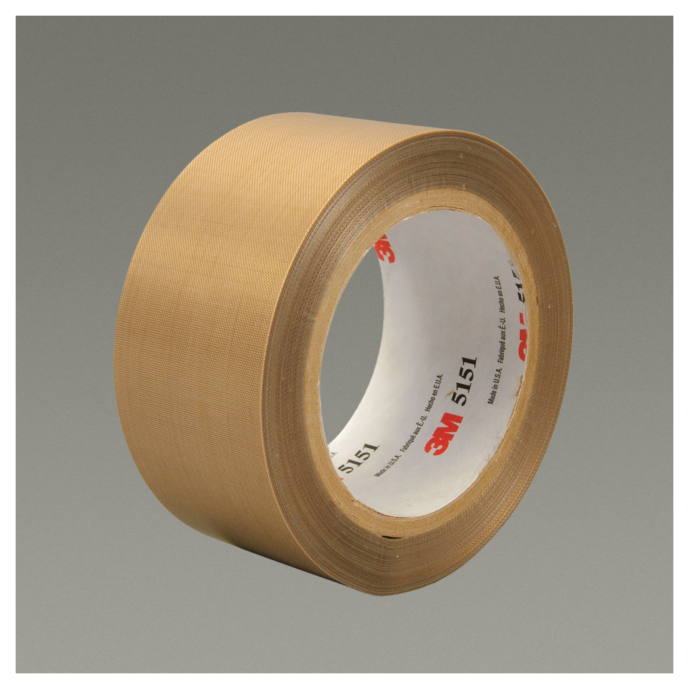 3M™ 021200-45631 General Purpose Glass Cloth Tape, 36 yd L x 1-1/2 in W, 5.3 mil THK, Silicon Adhesive, Glass Cloth Impregnated with PTFE Backing, Light Brown