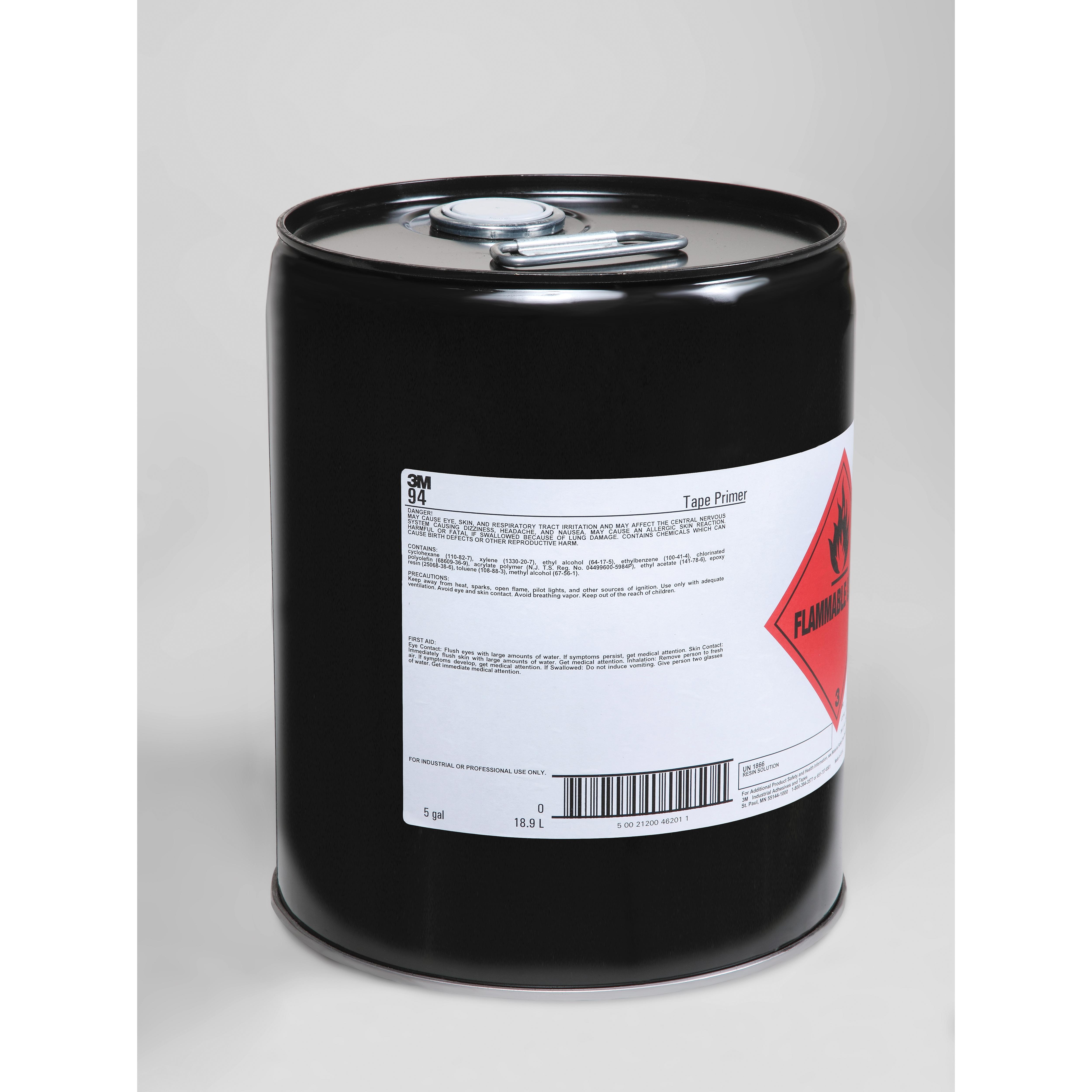 3M™ 021200-46201 94 Tape Primer, 5 gal Pail, Liquid, Clear Light Yellow, 0.82