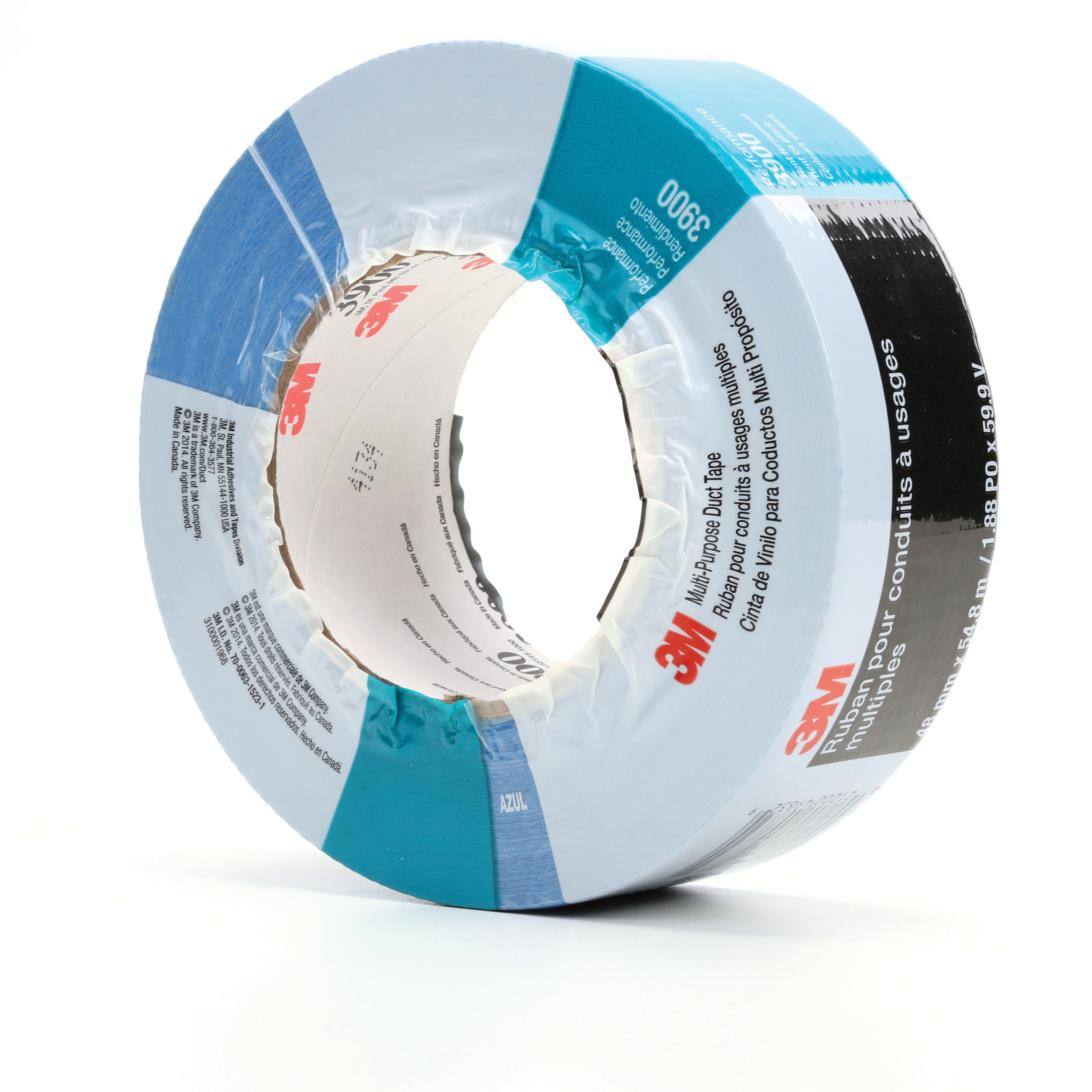 3M™ 021200-49832 Multi-Purpose Duct Tape, 54.8 m L x 48 mm W, 7.6 mil THK, Rubber Adhesive, Polyethylene Over Cloth Scrim Backing, Blue