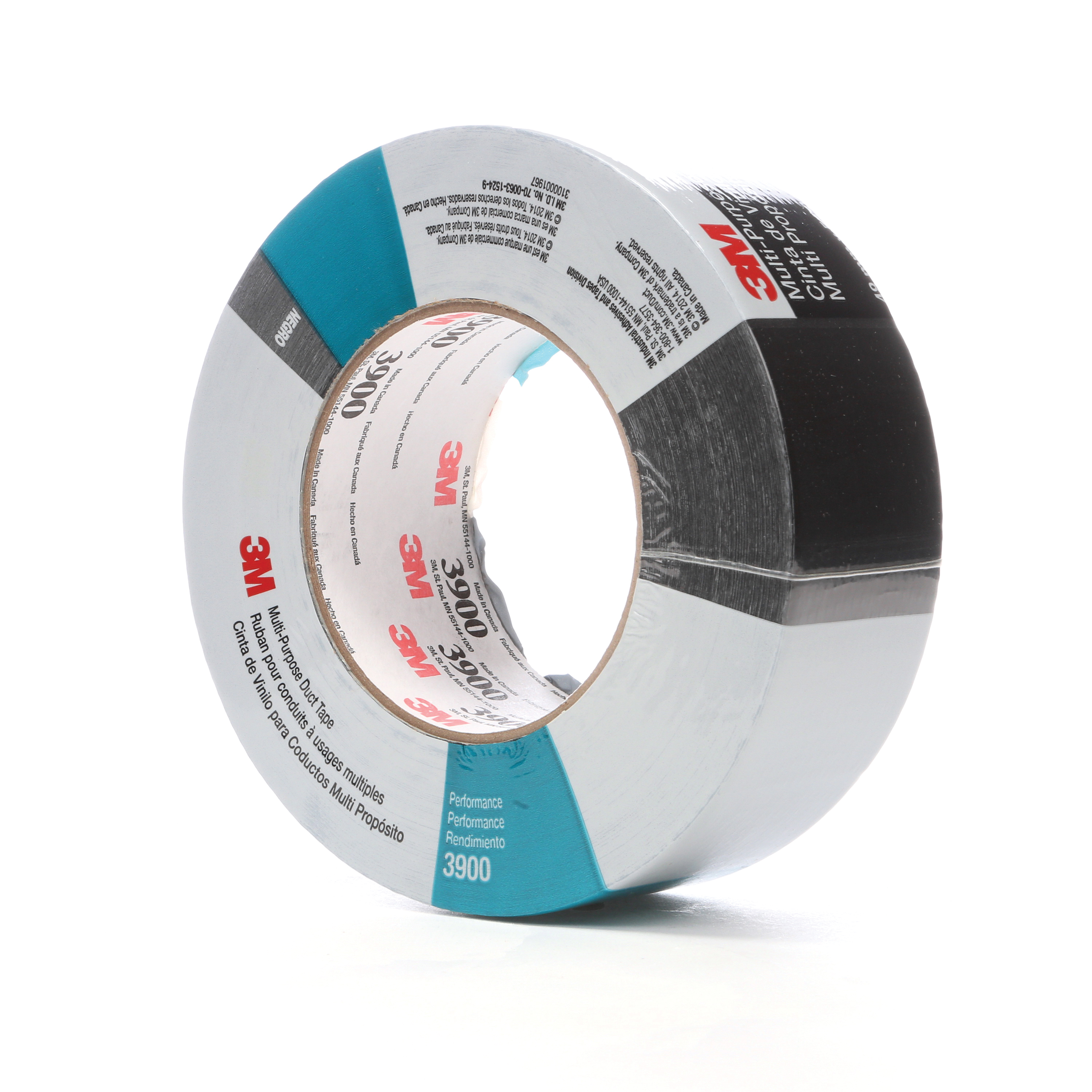 3M™ 021200-49833 Multi-Purpose Duct Tape, 54.8 m L x 48 mm W, 7.6 mil THK, Rubber Adhesive, Polyethylene Over Cloth Scrim Backing, Black