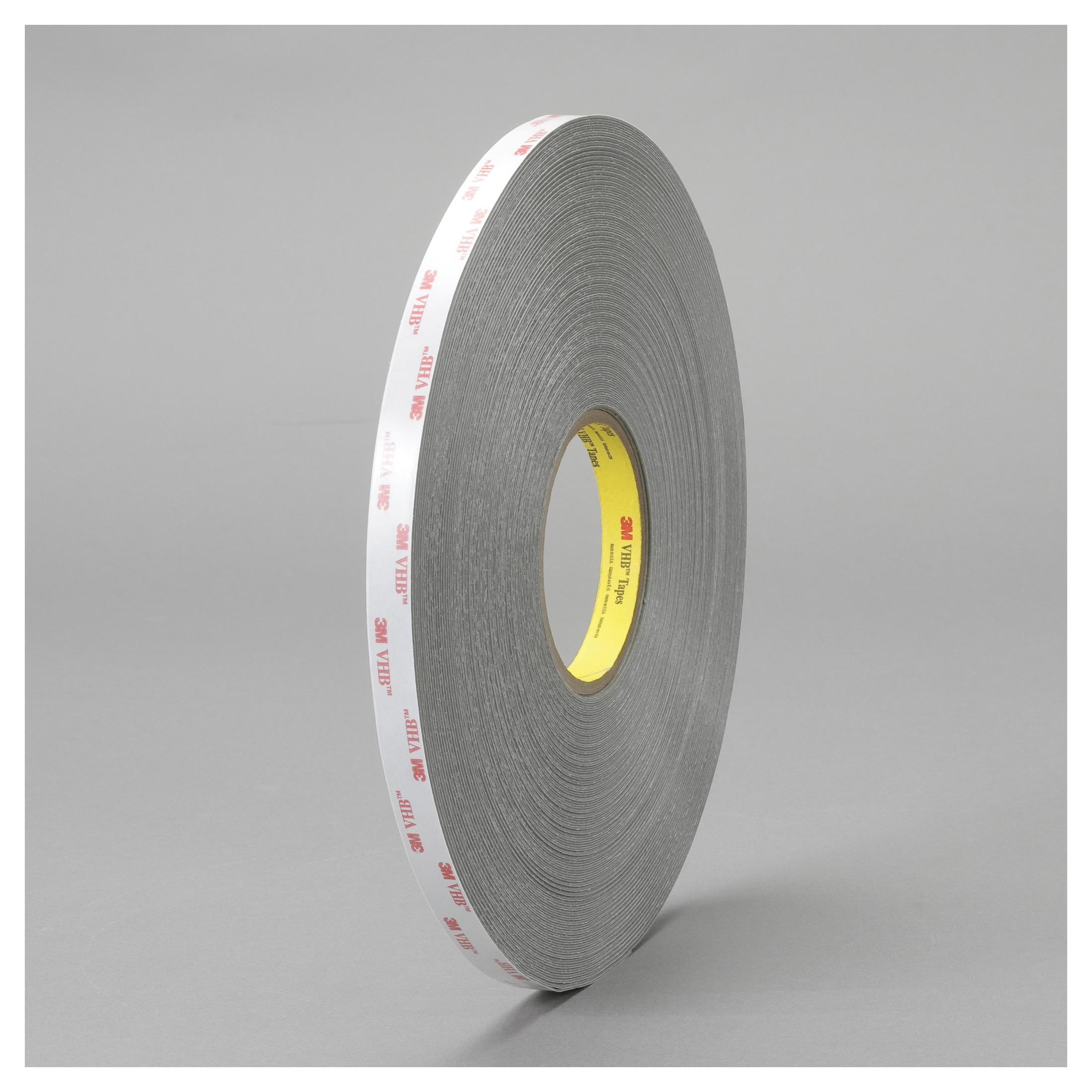 3M™ VHB™ 021200-64620 Pressure Sensitive Double Sided Bonding Tape, 72 yd L x 1 in W, 0.025 in THK, Multi-Purpose Acrylic Adhesive, Acrylic Foam Backing, Gray