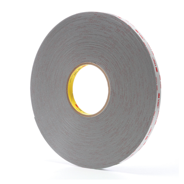 3M™ VHB™ 021200-64628 4941 Pressure Sensitive Double Sided Bonding Tape, 36 yd L x 1/2 in W, 0.045 in THK, Multi-Purpose Acrylic Adhesive, Acrylic Foam Backing, Gray