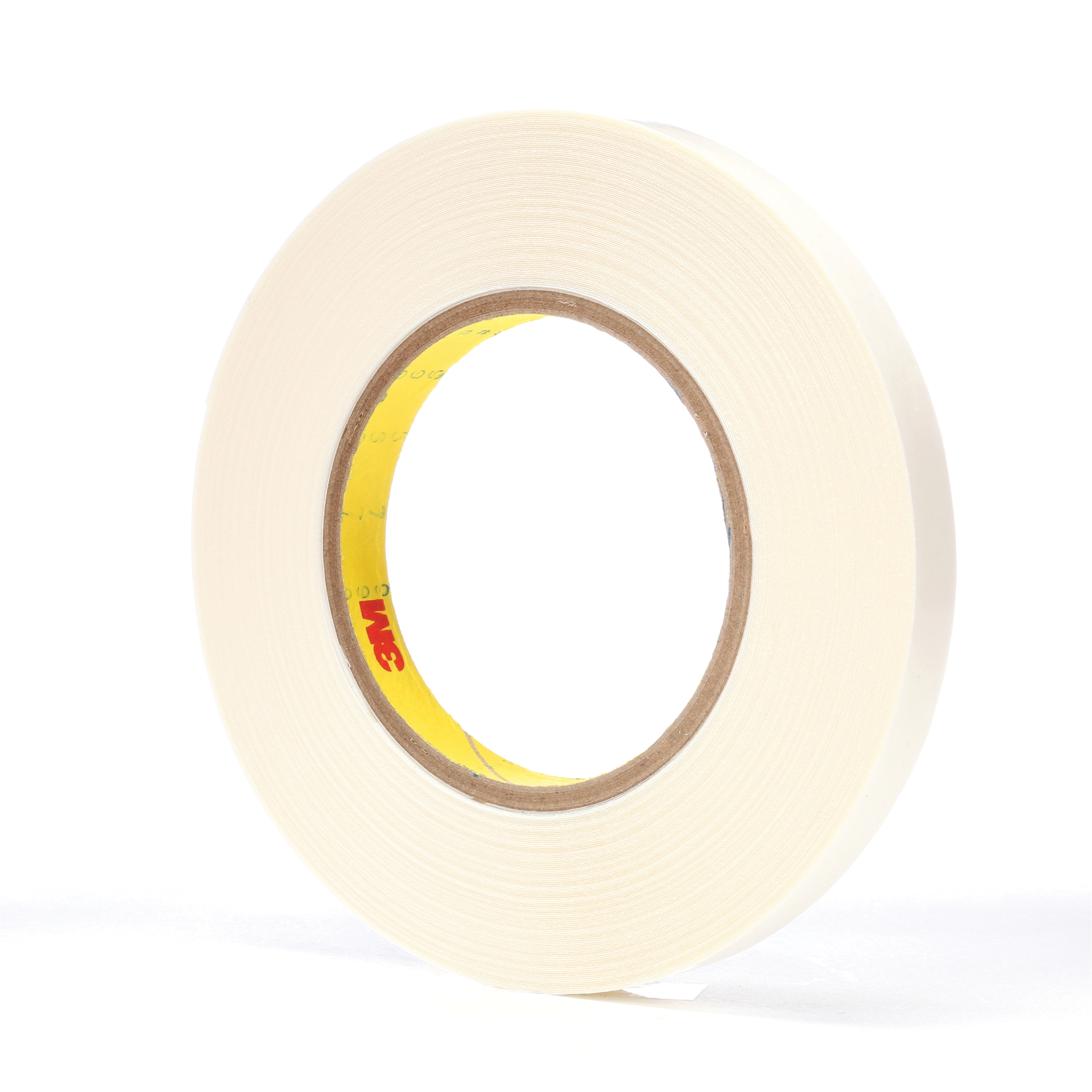 3M™ 021200-65873 Double Coated Tape, 36 yd L x 1/2 in W, 9 mil THK, Synthetic Rubber Adhesive, Polyethylene Backing, White