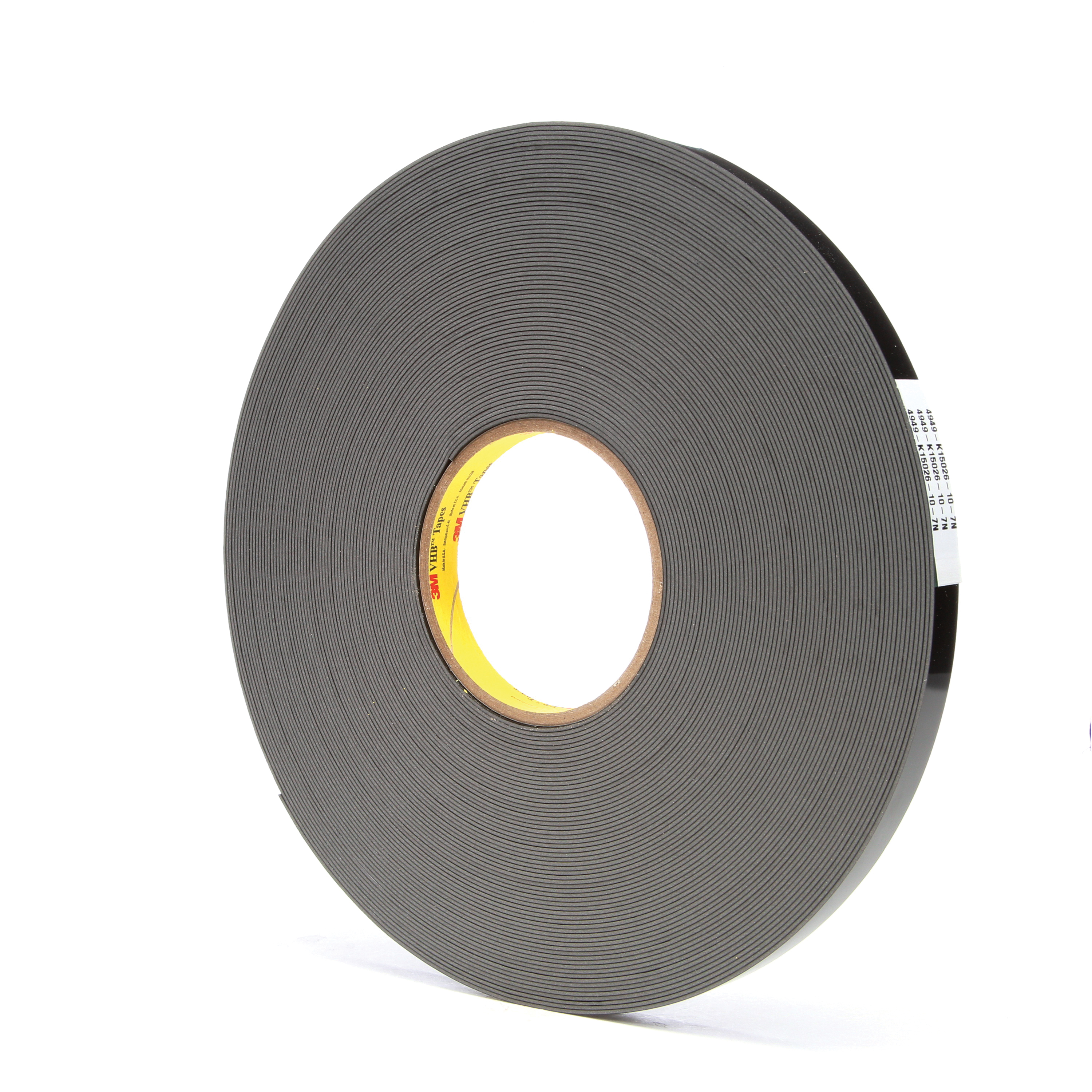 3M™ VHB™ 021200-67490 High Strength Double Sided Bonding Tape, 36 yd L x 1/2 in W, 0.045 in THK, General Purpose Acrylic Adhesive, Acrylic Foam Backing, Black
