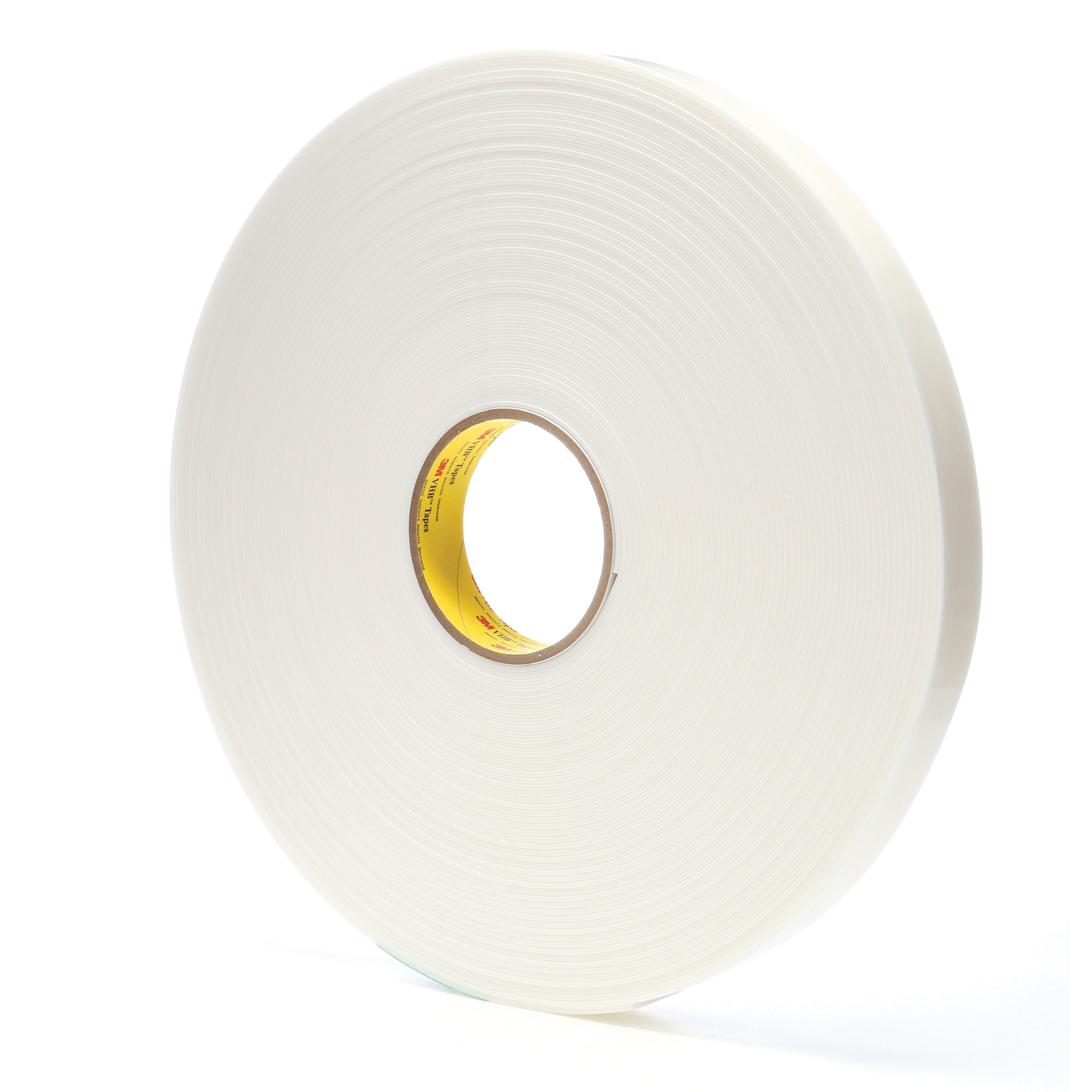 3M™ VHB™ 021200-67501 Pressure Sensitive Double Sided Bonding Tape, 36 yd L x 1 in W, 0.08 in THK, General Purpose Acrylic Adhesive, Acrylic Foam Backing, White