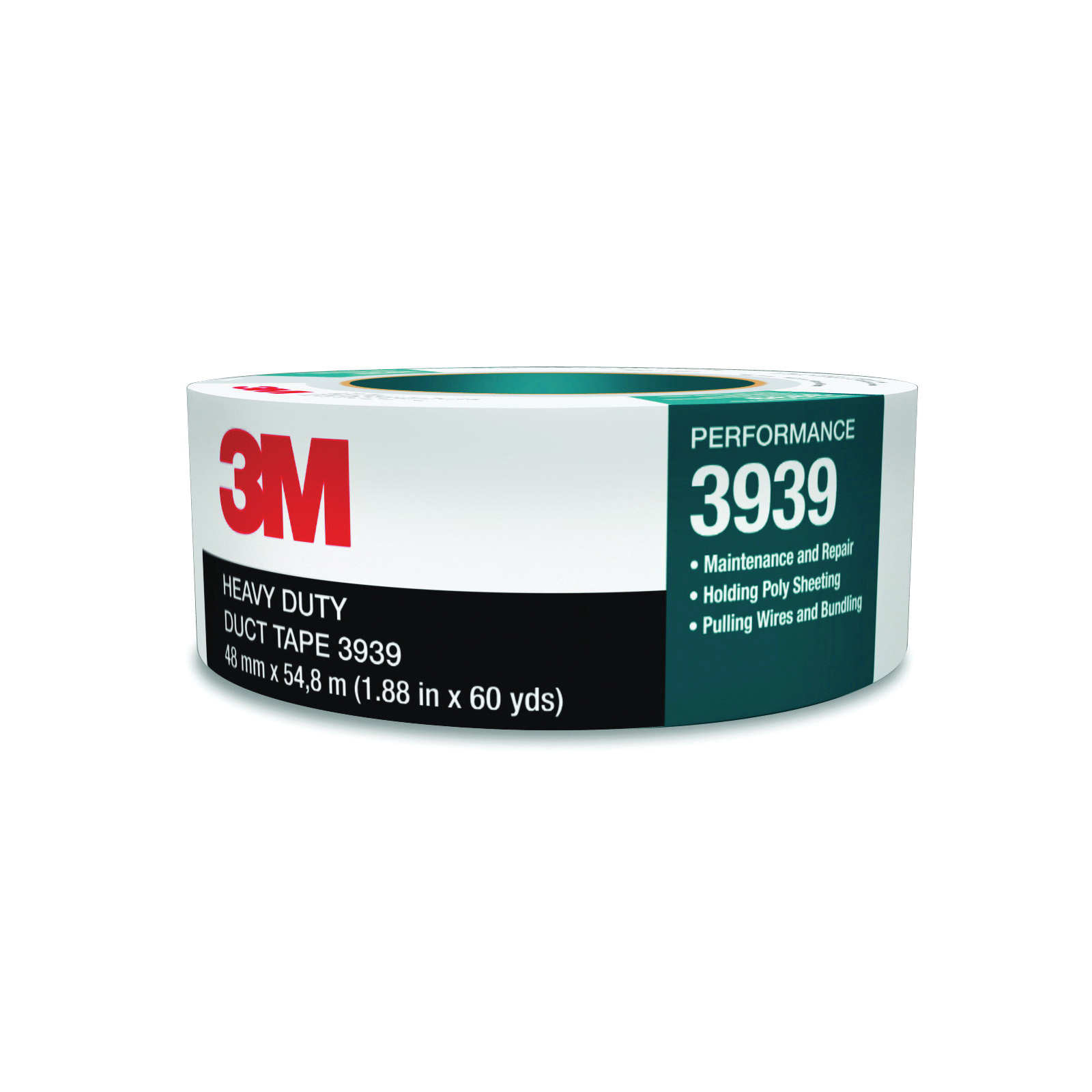 3M™ 021200-85563 3939 Heavy Duty Duct Tape, 54.8 m L x 96 mm W, 8.6 mil THK, Rubber Adhesive, Polyethylene Over Cloth Scrim Backing, Silver