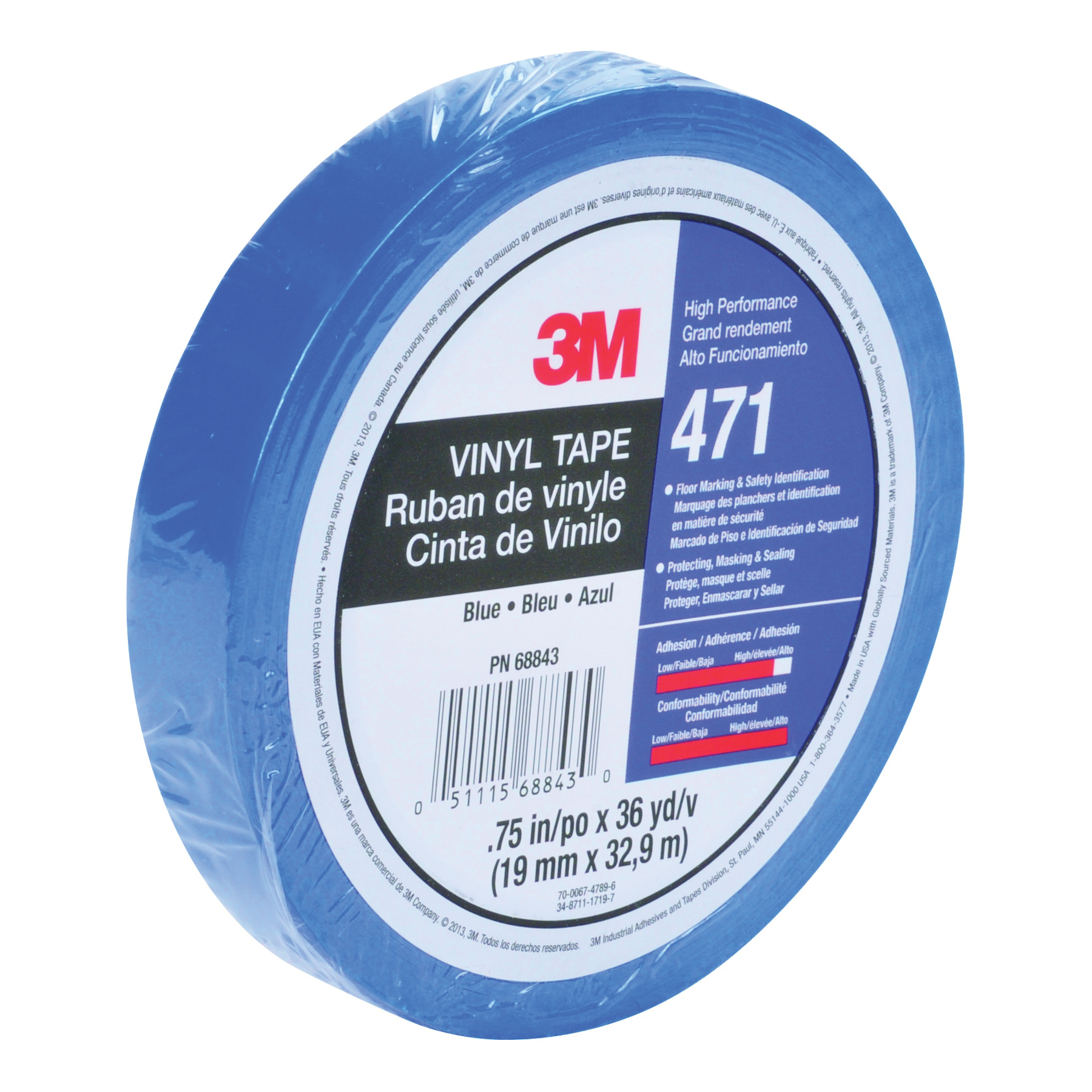 3M™ 021200-85611 High Performance Vinyl Tape, 36 yd L x 3/8 in W, 5.2 mil THK, Rubber Adhesive, Vinyl Backing, Blue