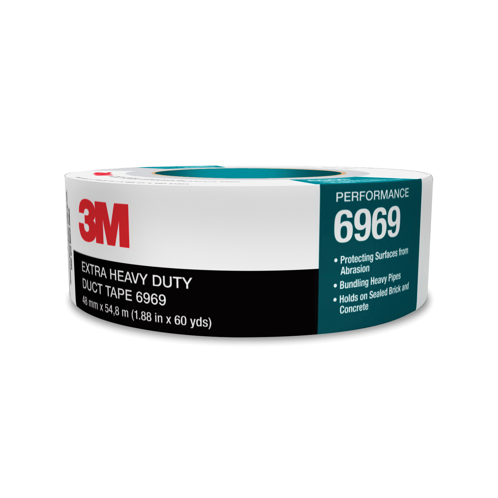 3M™ 021200-85635 Extra Heavy Duty Duct Tape, 54.8 m L x 72 mm W, 10.7 mil THK, Rubber Adhesive, Polyethylene Film Over Cloth Scrim Backing, Silver