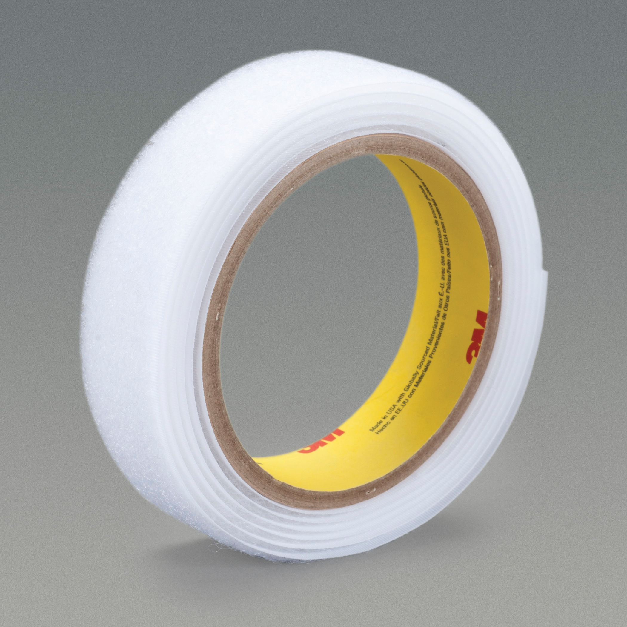 3M™ 021200-38268 Reclosable Hook Fastener Tape, 50 yd L x 1 in W, 0.15 in THK Engaged, Synthetic Rubber Adhesive, Woven Nylon Backing, White
