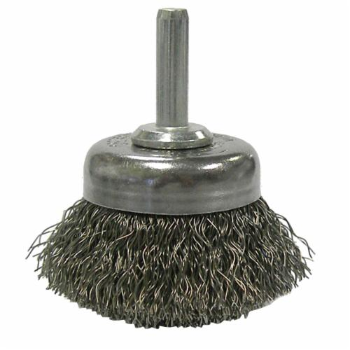 Weiler® 14301 Stem Mounted Utility Cup Brush, 1-3/4 in Dia Brush, 0.0118 in Dia Filament/Wire, Crimped, Steel Fill
