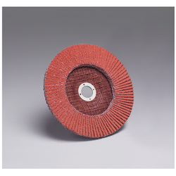 3M™ 051111-49608 Close Quick-Change Coated Abrasive Flap Disc, 7 in Dia, 7/8 in Center Hole, 36 Grit, Very Coarse Grade, Ceramic Abrasive, Type 27 Disc