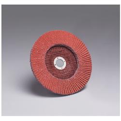 3M™ 051111-49608 747D Close Quick-Change Close Coated Flap Disc, 7 in Dia Disc, 7/8 in Center Hole, 36 Grit, Very Coarse Grade, Ceramic Abrasive, Type 27 Disc
