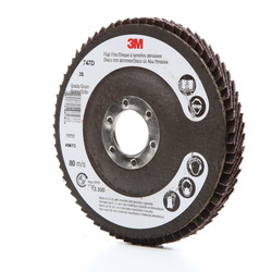 3M™ 051111-49613 Close Quick-Change Coated Abrasive Flap Disc, 4-1/2 in Dia, 7/8 in Center Hole, 36 Grit, Very Coarse Grade, Ceramic Abrasive, Type 27 Disc