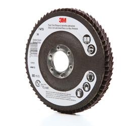 3M™ 051111-49613 747D Close Quick-Change Close Coated Flap Disc, 4-1/2 in Dia Disc, 7/8 in Center Hole, 36 Grit, Very Coarse Grade, Ceramic Abrasive, Type 27 Disc