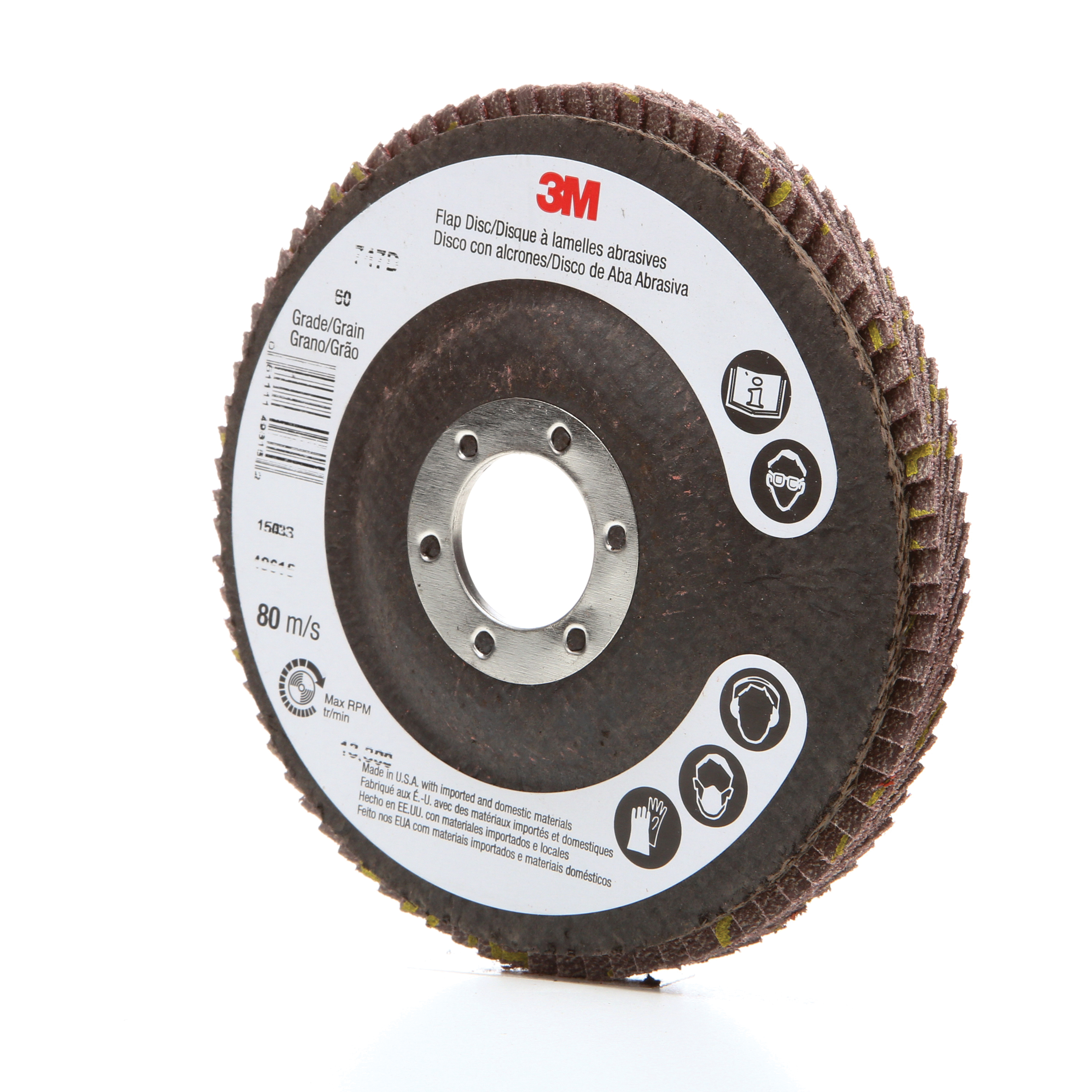 3M™ 051111-49615 Close Quick-Change Coated Abrasive Flap Disc, 4-1/2 in Dia, 7/8 in Center Hole, 60 Grit, Medium Grade, Ceramic Abrasive, Type 27 Disc