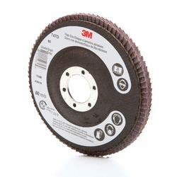3M™ 051111-49616 747D Close Quick-Change Close Coated Flap Disc, 4-1/2 in Dia Disc, 7/8 in Center Hole, 80 Grit, Medium Grade, Ceramic Abrasive, Type 27 Disc