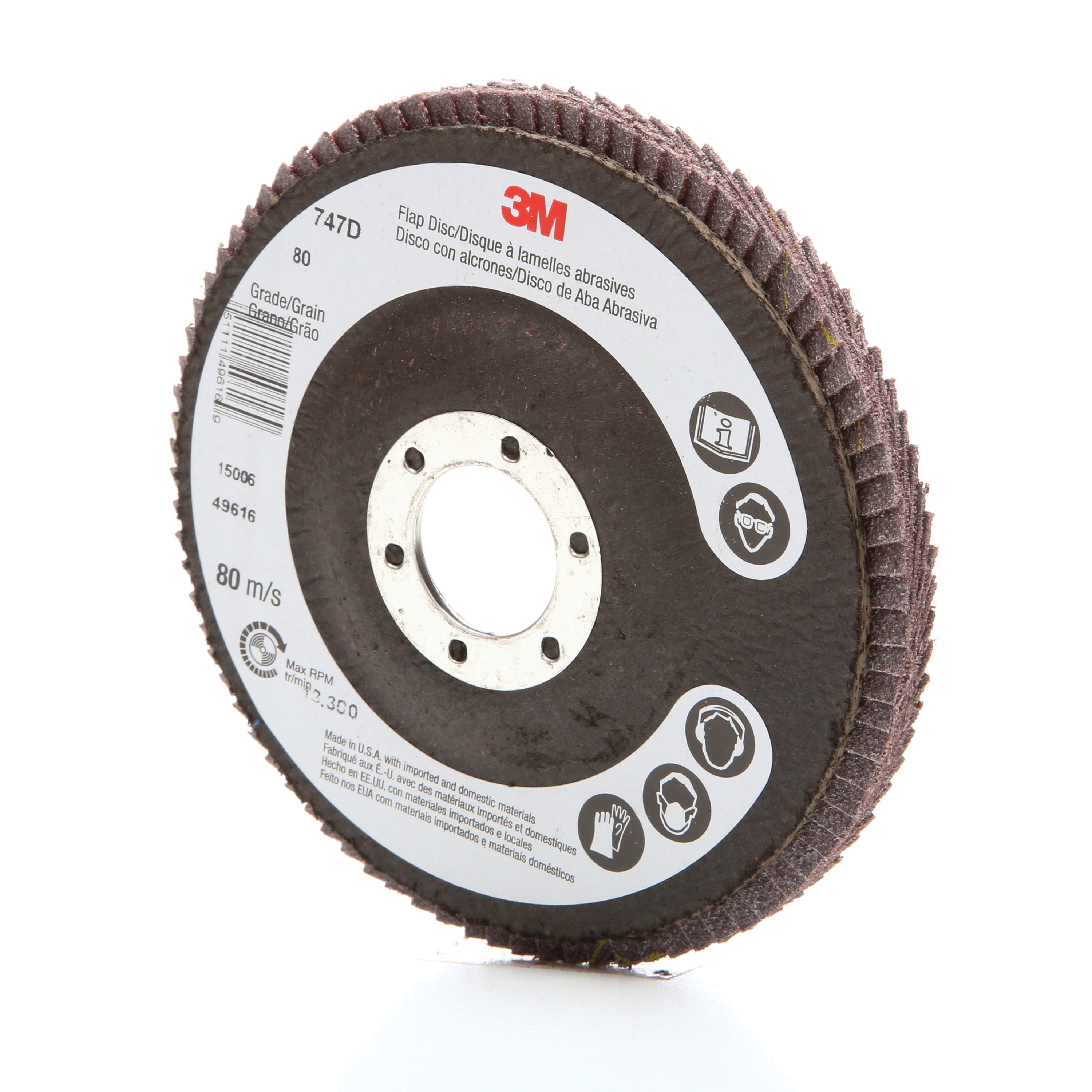 3M™ 051111-49616 Close Quick-Change Coated Abrasive Flap Disc, 4-1/2 in Dia, 7/8 in Center Hole, 80 Grit, Medium Grade, Ceramic Abrasive, Type 27 Disc