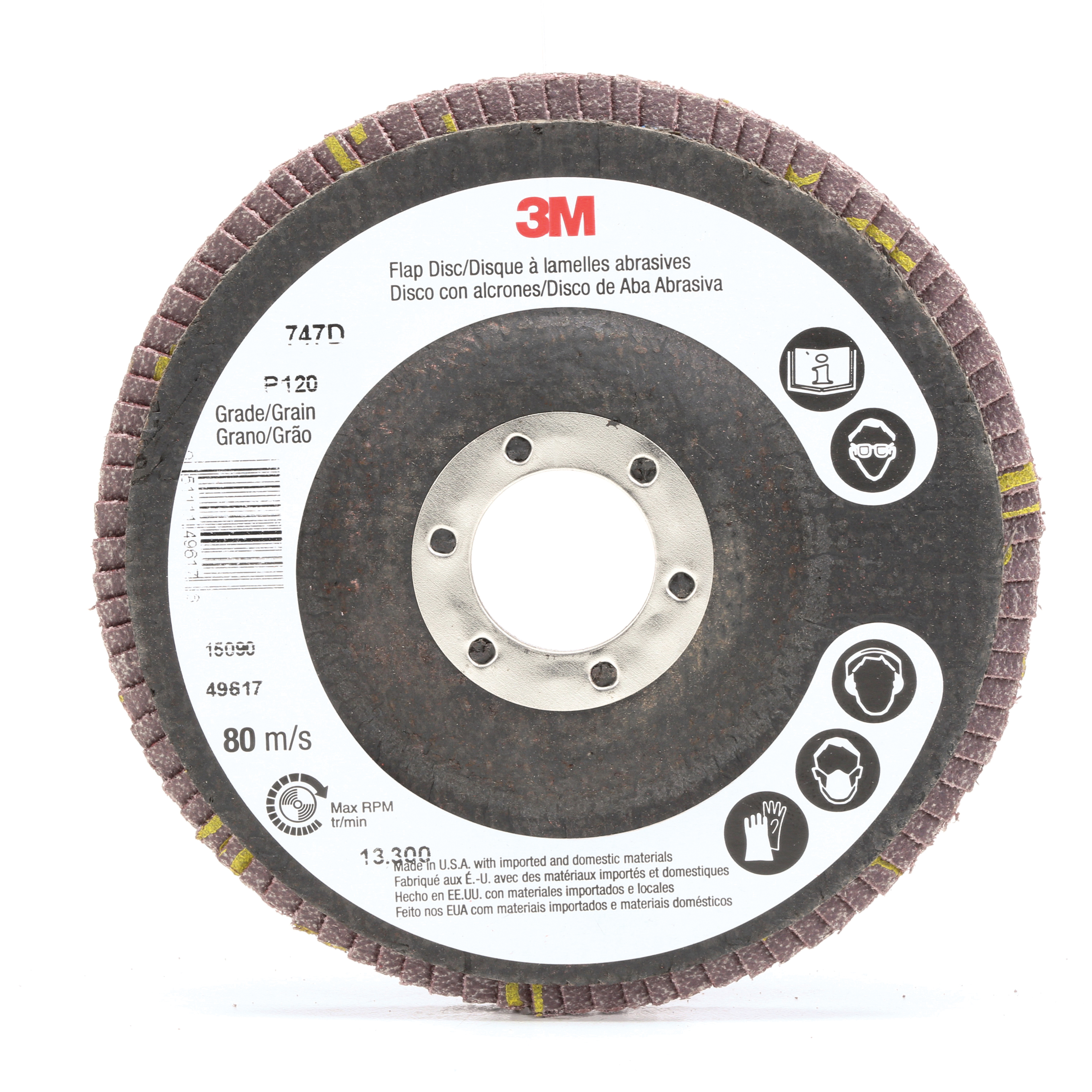 3M™ 051111-49617 Close Quick-Change Coated Abrasive Flap Disc, 4-1/2 in Dia, 7/8 in Center Hole, P120 Grit, Fine Grade, Ceramic Abrasive, Type 27 Disc