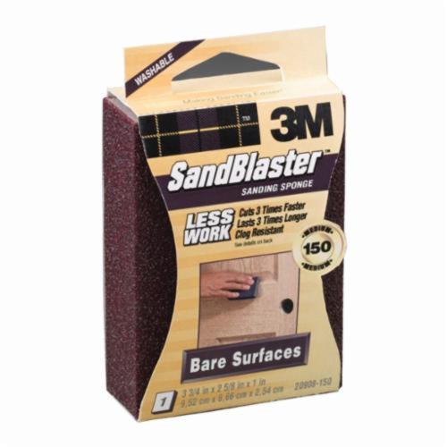 3M™ SandBlaster™ 051111-50677 Sanding Sponge, 3.7 in L x 2.6 in W x 1 in THK, Ceramic Aluminum Oxide, Purple