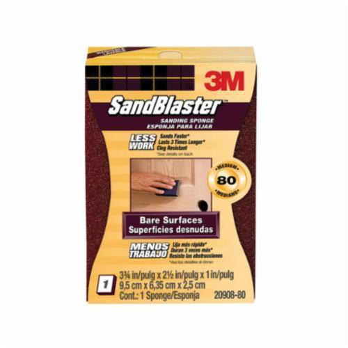 3M™ SandBlaster™ 051111-50679 Advanced Bare Surface Sanding Sponge, 3-3/4 in L x 2-1/2 in W x 1 in THK, 80 Grit, Medium Grade