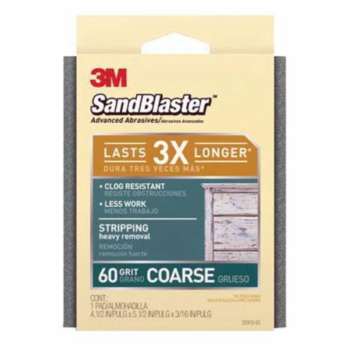 3M™ SandBlaster™ 051111-50695 Sanding Pad, 5-1/2 in L x 4-1/2 in W x 3/16 in THK, 60 Grit, Coarse Grade