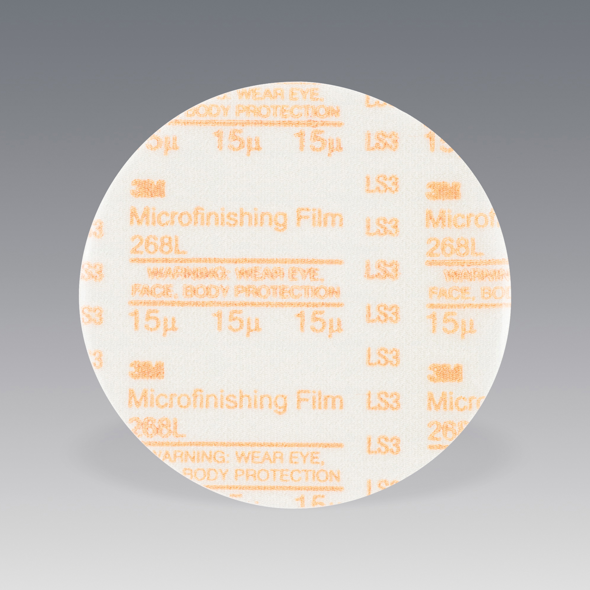 3M™ 051111-54510 Type D Microfinishing PSA Coated Abrasive Disc, 3 in Dia, 15 micron Grit, Super Fine Grade, Aluminum Oxide Abrasive, Polyester Film Backing