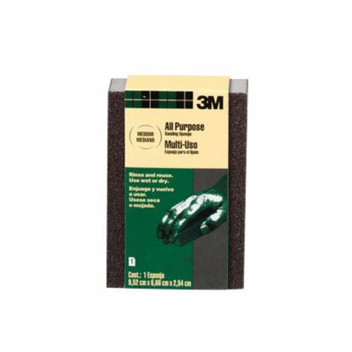 3M™ 051115-00408 Full Size Sanding Sponge, 3-3/4 in L x 2-5/8 in W x 1 in THK, Medium Grade
