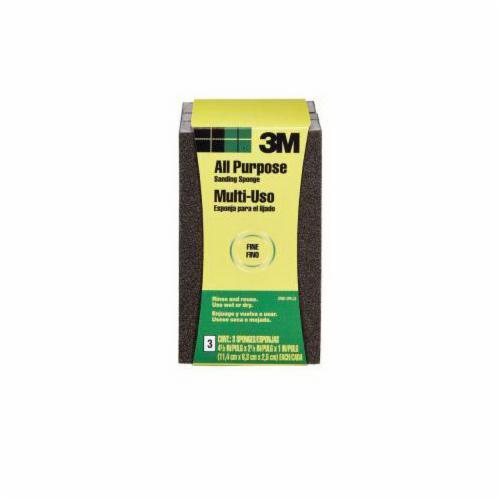 3M™ 051115-00409 Full Size Sanding Sponge, 3-3/4 in L x 2-5/8 in W x 1 in THK, Fine Grade