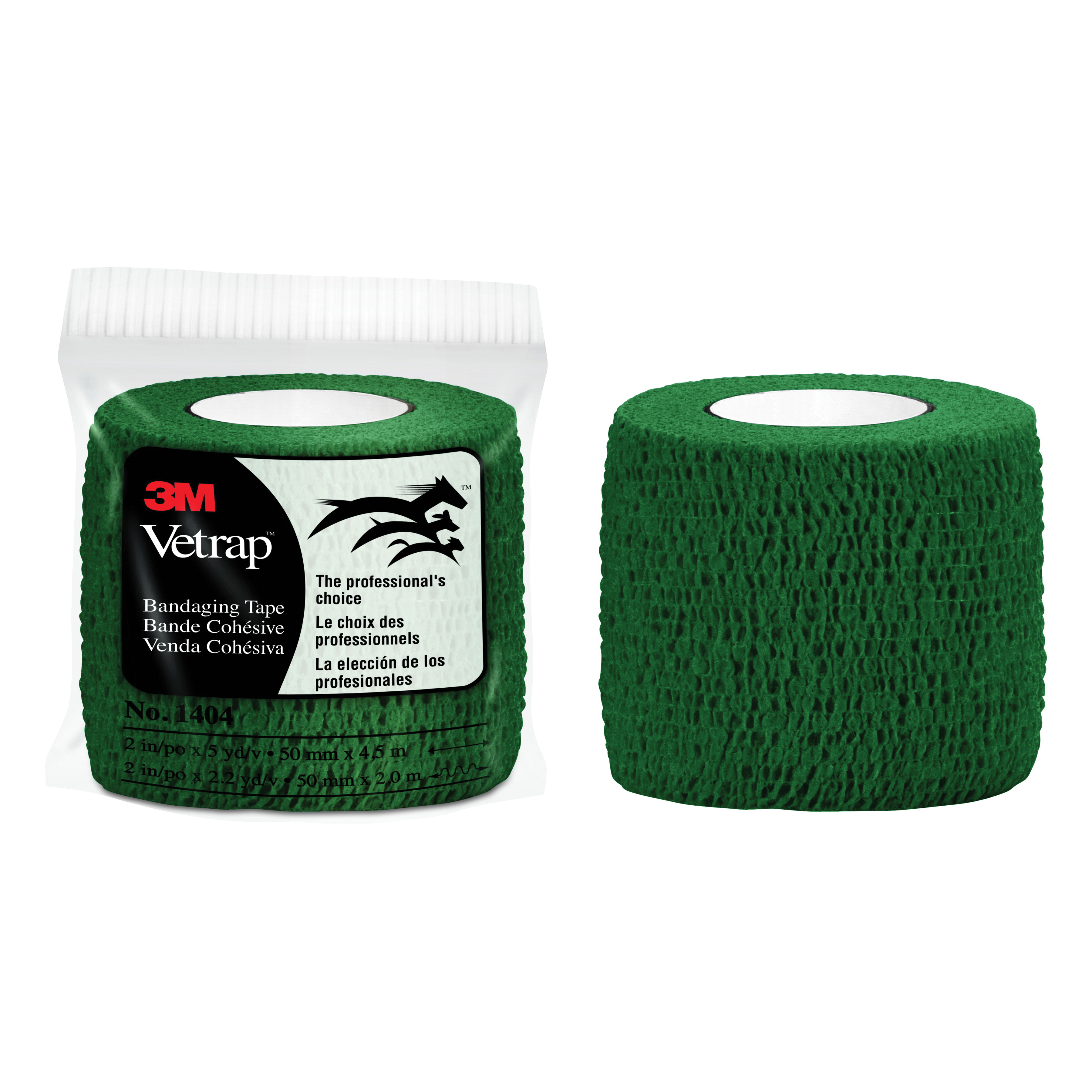 3M™ Vetrap™ 051115-04854 1404 Bandaging Tape, Self-Adherent Elastic Wrap, Hunter Green