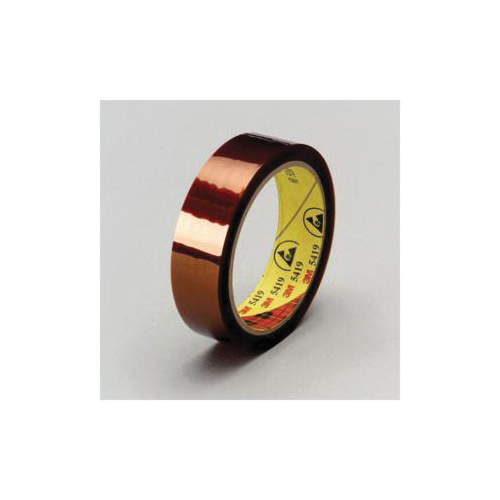 3M™ 021200-64863 Low Static Film Tape, 36 yd L x 3/8 in W, 2.7 mil THK, Silicone Adhesive, Polyamide Backing, Gold