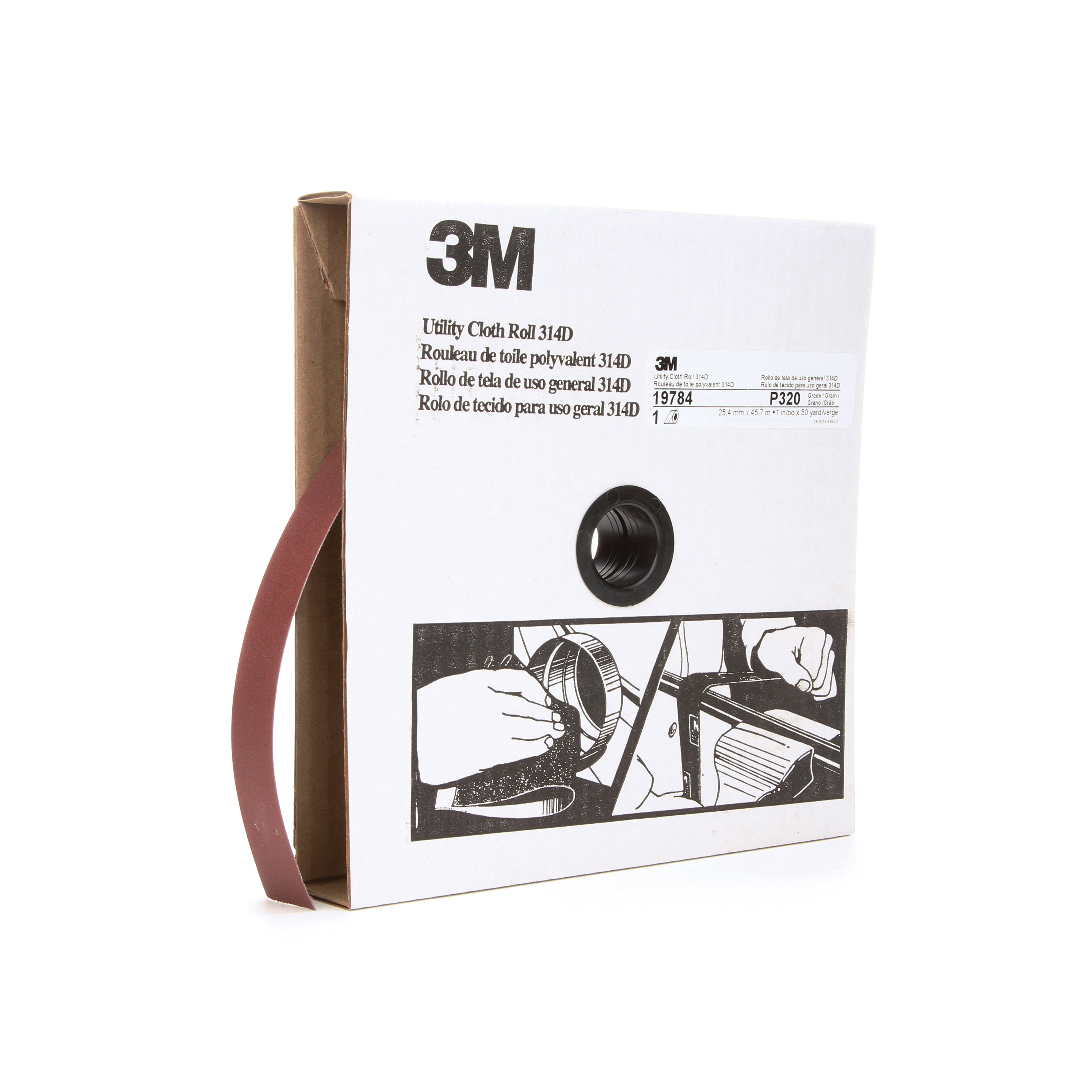 3M™ 051115-19784 Utility Cloth Roll, 1 in W x 50 yd L, P320 Grit, Very Fine Grade, Aluminum Oxide Abrasive, Cloth Backing