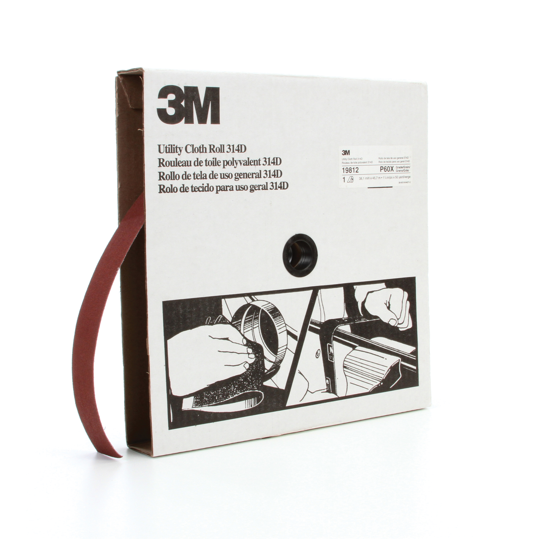 3M™ 051115-19812 Utility Cloth Roll, 1-1/2 in W x 50 yd L, P60 Grit, Medium Grade, Aluminum Oxide Abrasive, Cloth Backing