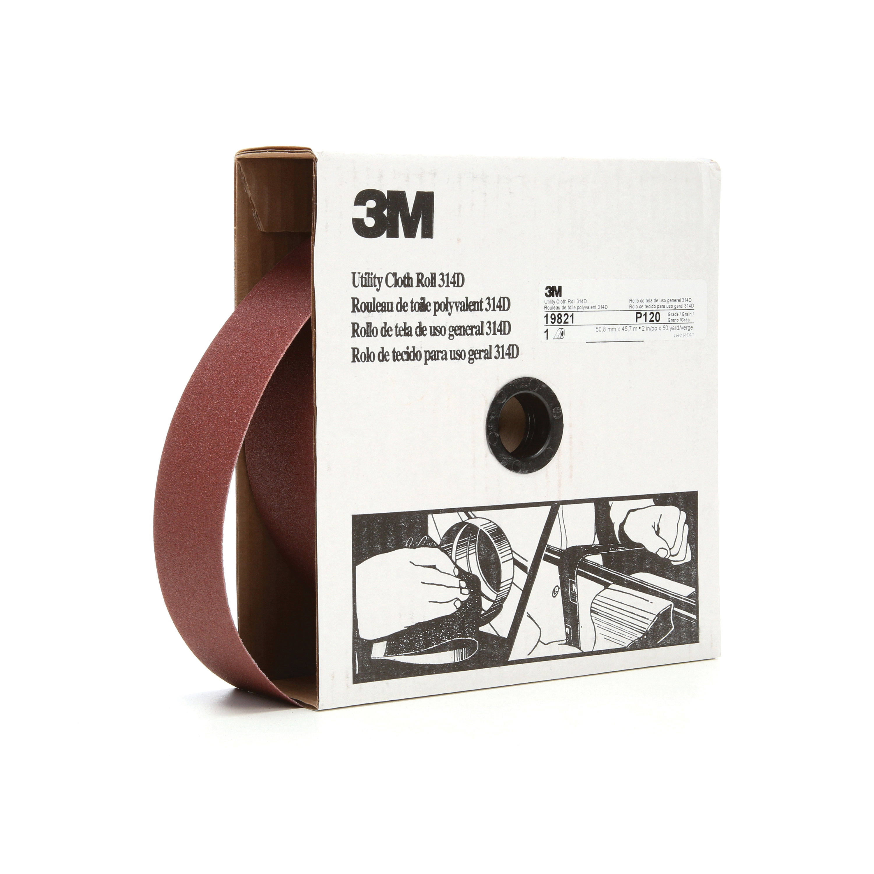 3M™ 051115-19821 Utility Cloth Roll, 2 in W x 50 yd L, P120 Grit, Fine Grade, Aluminum Oxide Abrasive, Cloth Backing