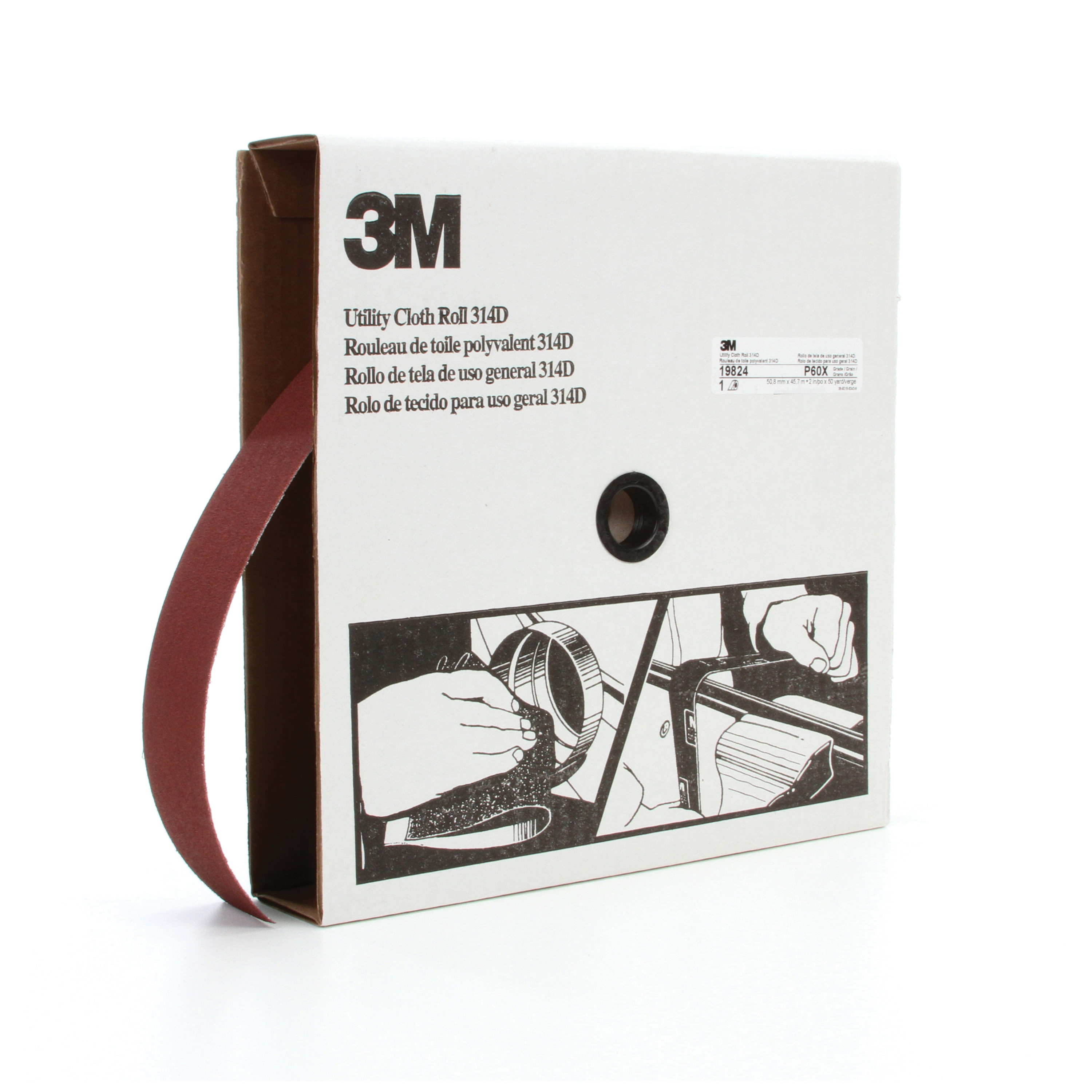 3M™ 051115-19824 314D Utility Closed Coated Abrasive Roll, 50 yd L x 2 in W, P60 Grit, Medium Grade, Aluminum Oxide Abrasive, Cloth Backing