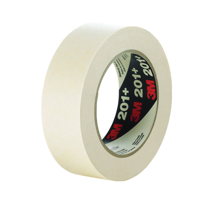 3M™ 051115-64743 201+ General Purpose Masking Tape, 55 m L x 72 mm W, 4.4 mil THK, Paper Liner, Rubber Adhesive, Crepe Paper Backing