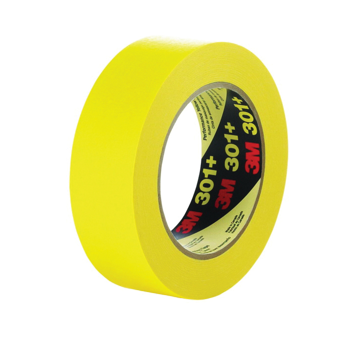 3M™ 051115-64754 Performance Solvent-Free Masking Tape, 55 m L x 24 mm W, 6.3 mil THK, Natural/Synthetic Rubber Adhesive, Crepe Paper Backing