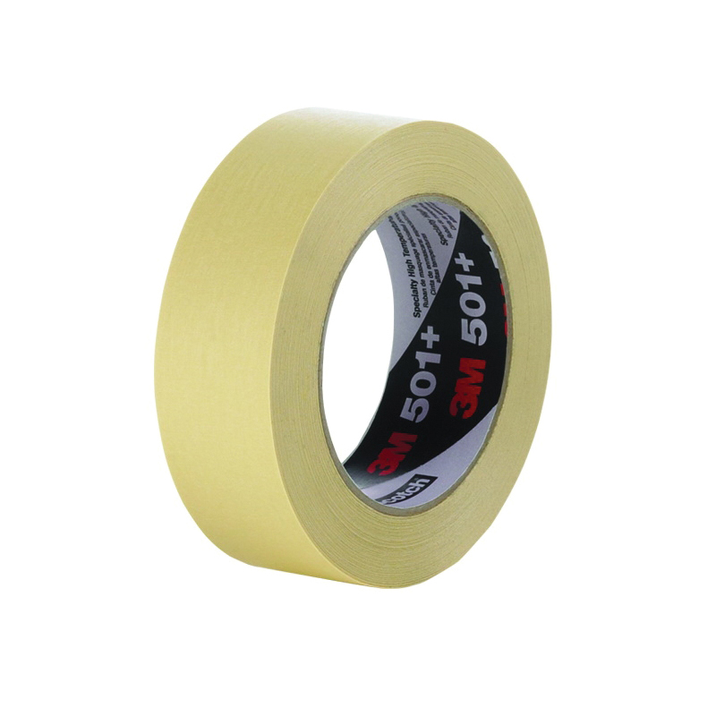 3M™ 051115-64773 High Temperature Specialty Masking Tape, 55 m L x 18 mm W, 7.3 mil THK, Paper Liner, Rubber Adhesive, Crepe Paper Backing