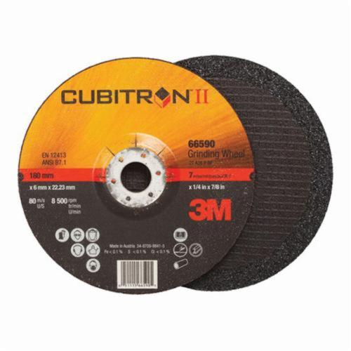 3M™ Cubitron™ II 051115-66594 Depressed Center Wheel, 7 in Dia x 1/4 in THK, 36+ Grit, Ceramic Abrasive