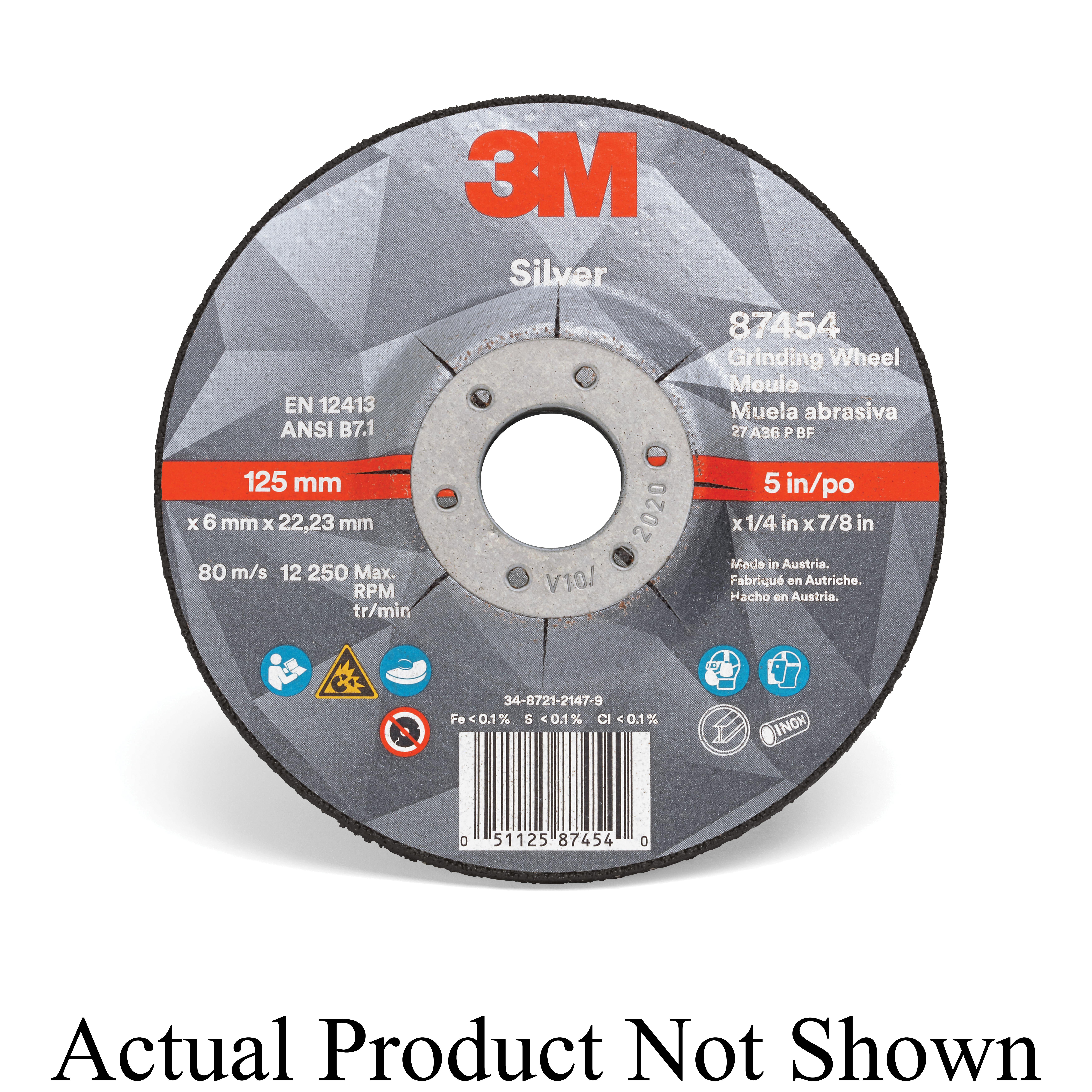 3M™ Silver 051125-87456 Silver Type 27 Depressed Center Grinding Wheel, 4 in Dia x 1/4 in THK, 5/8 in Center Hole, 36 Grit, Ceramic Grain Abrasive