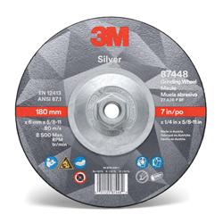 3M™ 051125-87448 Silver Depressed Center Wheel, 7 in Dia x 1/4 in THK, 36 Grit, Ceramic Grain Abrasive