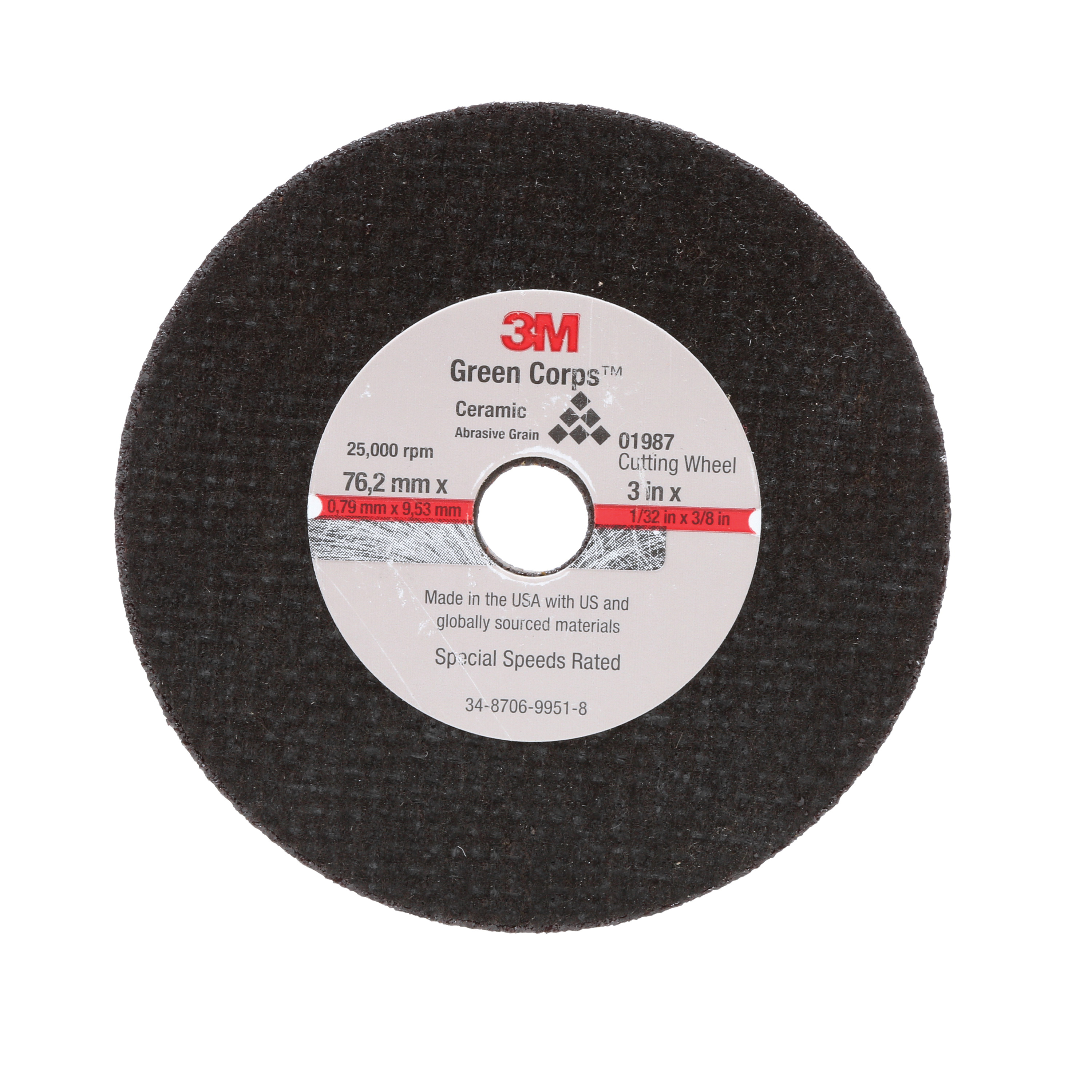 3M™ 051131-01987 Economy Cut-Off Wheel, 3 in Dia x 1/32 in THK, 3/8 in Center Hole, Aluminum Oxide Abrasive
